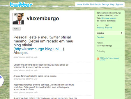 Twitter do Vanderlei Luxemburgo