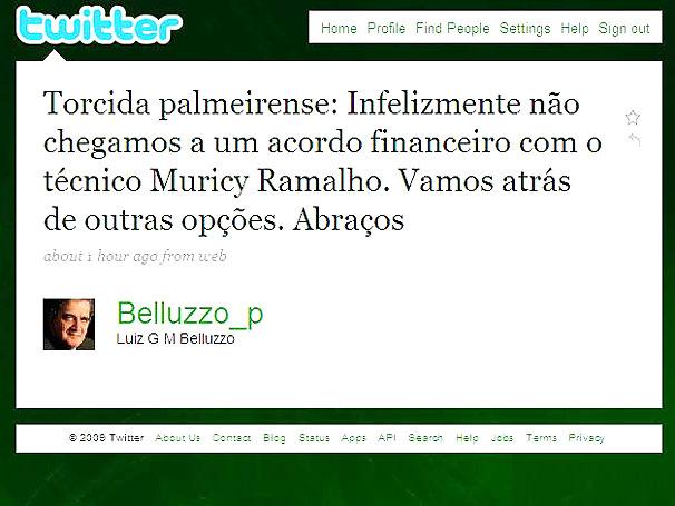 Aviso Pelo Twitter - Luiz Gonzaga Belluzzo