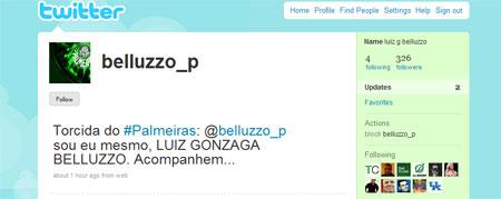 Twitter do Presidente do Palmeiras Luiz Gonzaga Belluzzo