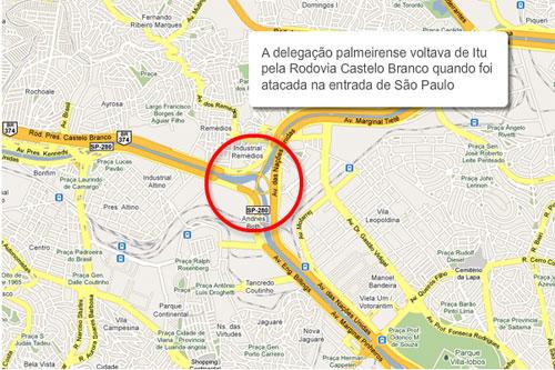 Ônibus do Palmeiras sofre ataque na entrada de São Paulo