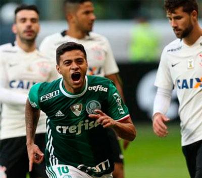 Palmeiras vence Corinthians e sobe para a 2° colocação no Brasileirão 2016