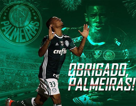 Gabriel Jesus se despede de todo o elenco do Palmeiras